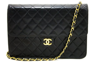 CHANEL Chain Shoulder Bag Clutch Black Quilted Flap Lambskin Q74-Chanel-hannari-shop