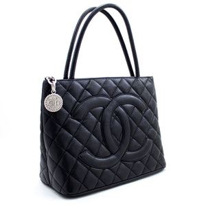 CHANEL Silver Medallion Caviar Shoulder Bag Shopping Tote Black x03 hannari-shop