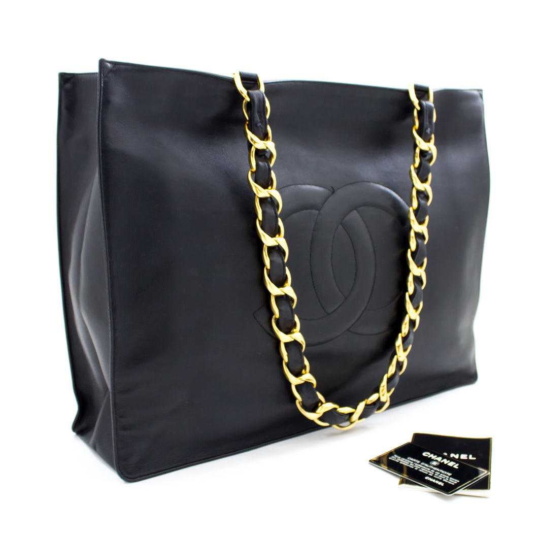 CHANEL Jumbo Large Big Chain Shoulder Bag Black Lambskin Leather s88-hannari-shop