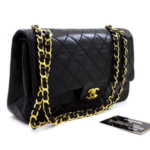 "CHANEL 2.55 Flap 10 ""Chain Shoulder Bag Black Lambskin u21-hannari-shop"