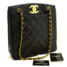 CHANEL Caviar Gold Chain Shoulder Bag Black Quilted Leather CC g28