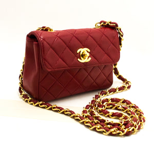 CHANEL Red Mini Very Small Chain Shoulder Bag Crossbody Quilted Q93