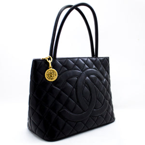 CHANEL Gold Medallion Caviar Shoulder Bag Shopping Tote Black x01 hannari-shop