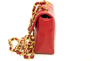 CHANEL Red Mini Very Small Chain Shoulder Bag Crossbody Quilted Q93-anel-hannari-shop