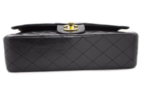 "CHANEL 2.55 Double Flap 10"" Chain Shoulder Bag Black Lambskin u21-hannari-shop"