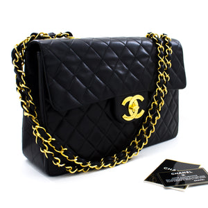 "CHANEL Jumbo 13"" 2.55 Flap Chain Shoulder Bag XL Black Lambskin s92"