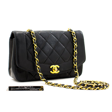 CHANEL Diana Flap Navy Chain Shoulder Bag Quilted Lambskin a18 hannari-shop