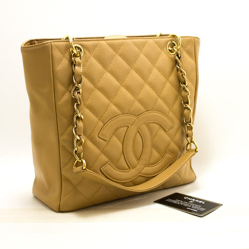CHANEL Caviar Beige PST Chain Shoulder Bag Shoppingtøy Vattert n99-Chanel-hannari-shop