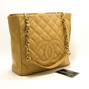 CHANEL Caviar Beige PST Chain Shoulder Bag Shopping Tote Quilted n99