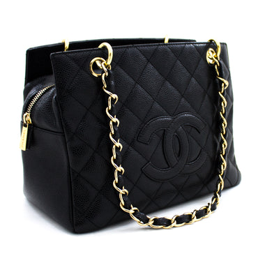 CHANEL Caviar Caviar Chain Shoulder Shopping Shopping Tote Black Quilted Purse u89 hannari-shop