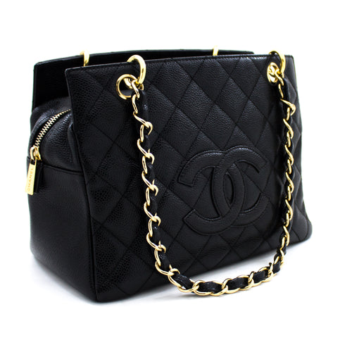 CHANEL Caviar Chain Shoulder Bag Shopping Tote Black Quilted Purse u89 hannari-shop
