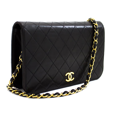 CHANEL Chain Shoulder Bag Clutch Black Quilted Flap Lambskin u22
