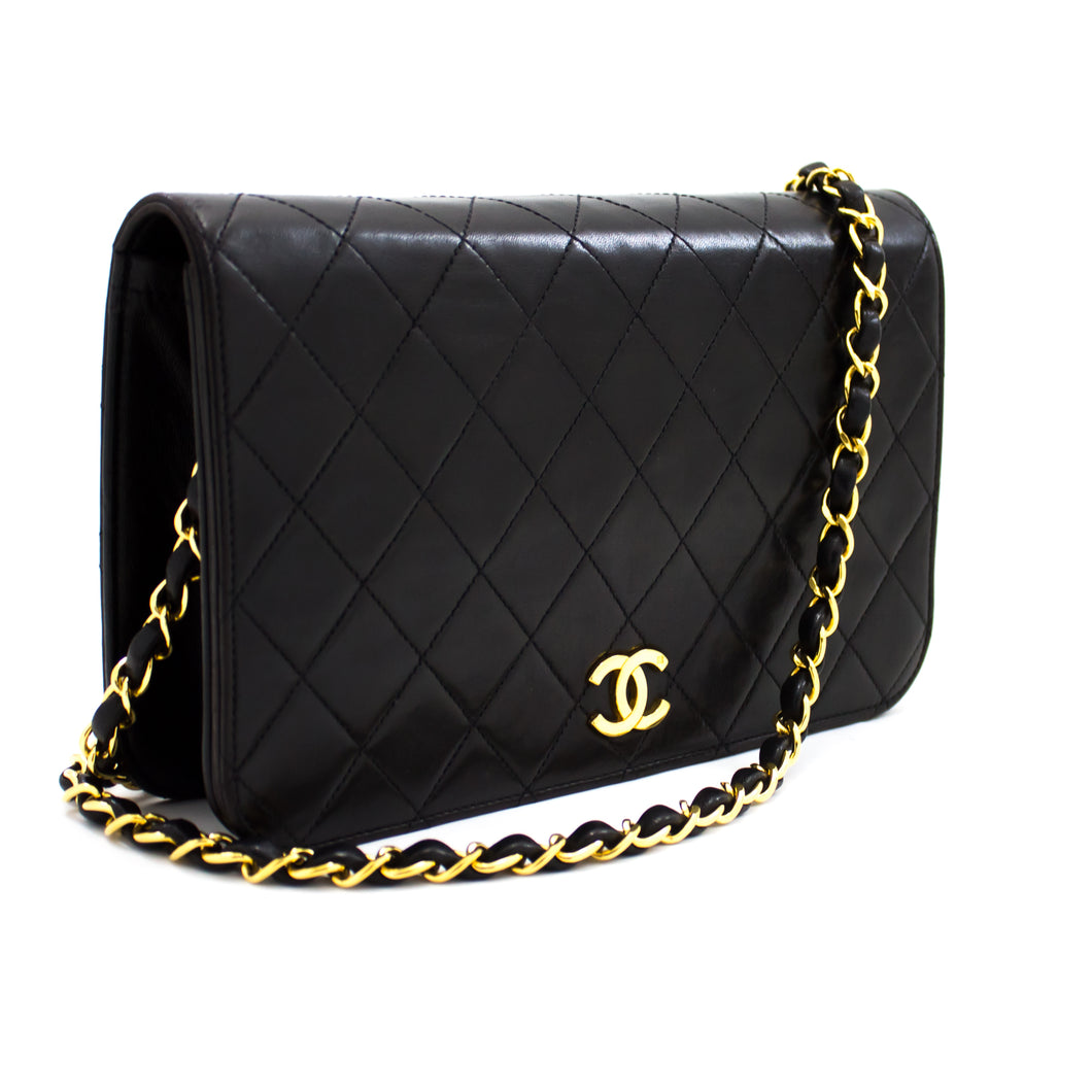 CHANEL Chain Shoulder Bag Clutch Black Quilted Flap Lambskin u22-hannari-shop