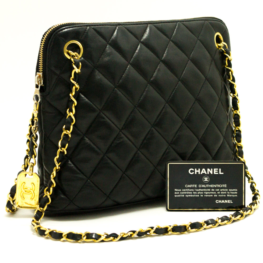 ... CHANEL Chain Shoulder Bag Black Quilted Zippered Lambskin Leather d20  ... 4a361f123a2d9