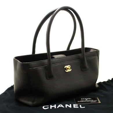 CHANEL Executive Tote 2014 Caviar Shoulder Bag Black Gold Leather j02-Chanel-hannari-shop