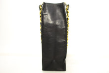 CHANEL Jumbo Large Chain Shoulder Bag Black Lambskin Leather Tote p82