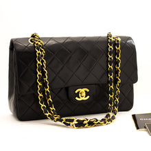 "CHANEL 2.55 Double Flap 10"" Chain Shoulder Bag Black Lambskin y75 hannari-shop"