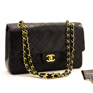 "CHANEL 2.55 Double Flap 10 ""Chain Shoulder Bag Black Lambskin y75 hannari-shop"