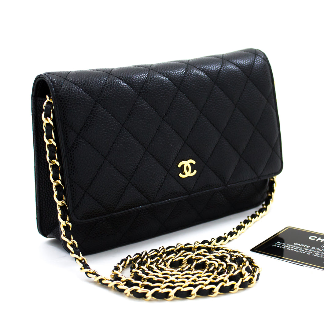 CHANEL Caviar Wallet On Chain WOC Black Shoulder Bag Crossbody t04-hannari-shop