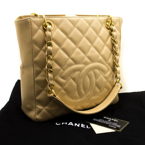 CHANEL Caviar PST ჯაჭვის მხრის ჩანთა Ivory Shopping Tote Quilted p17-Chanel-hannari-shop