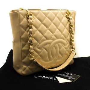 CHANEL Caviar PST Chain Shoulder Bag Ivory Shopping Tote Quilted p17