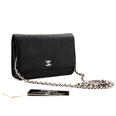 CHANEL Black Camellia Embossed Wallet On Chain WOC Shoulder Bag a21 hannari-shop