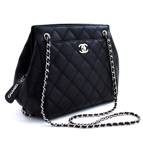 CHANEL Caviar Chain Shoulder Bag Black Quilted leather Silver Zip u92 hannari-shop