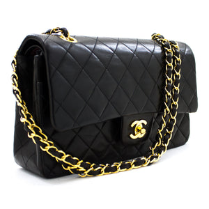"CHANEL 2.55 Double Flap 10""链条单肩包黑色小羊皮u29-hannari-shop"
