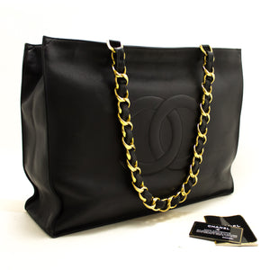 CHANEL Jumbo Large Chain Shoulder Bag Black Lambskin Leather Tote p81