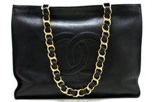 CHANEL Jumbo Large Chain Shoulder Bag Black Lambskin Leather Tote p81-Chanel-hannari-shop