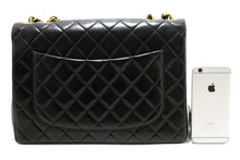 "CHANEL Jumbo 11"" Large Chain Shoulder Bag Flap Black Lambskin Q99-Chanel-hannari-shop"