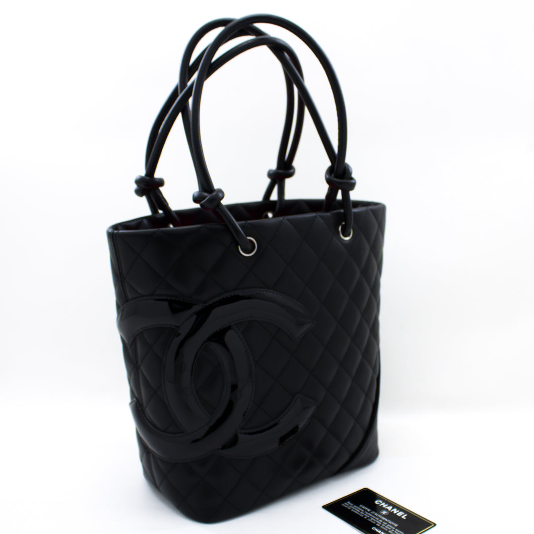 CHANEL Cambon Tote Small Shoulder Bag Black Quilted Calfskin Purse s93-hannari-shop