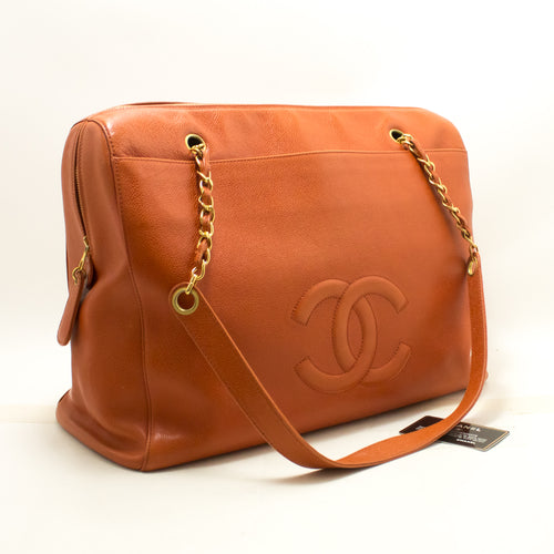 CHANEL Caviar Orange Jumbo Ikun Pq ejika apo Ikun Gold Zip n81-Chanel-hannari-shop