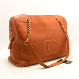 CHANEL Caviar Orange Jumbo Large Chain Shoulder Bag Gold Zip n81