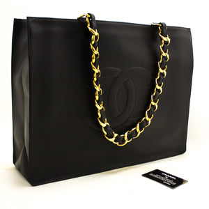 CHANEL Jumbo Large Chain Shoulder Bag Black Lambskin Leather Tote Q19