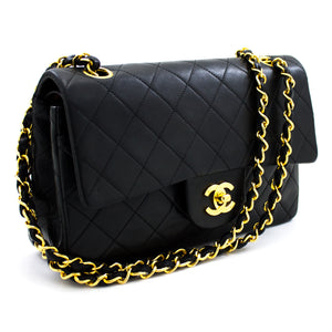 "CHANEL 2.55 Double Flap 9"" Chain Shoulder Bag Black Lambskin u93 hannari-shop"