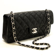 CHANEL Single Flap Chain Shoulder Bag Black Quilted Lambskin R02