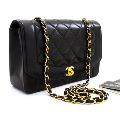 CHANEL Diana Flap Chain Shoulder Bag Crossbody Black Lambskin u27