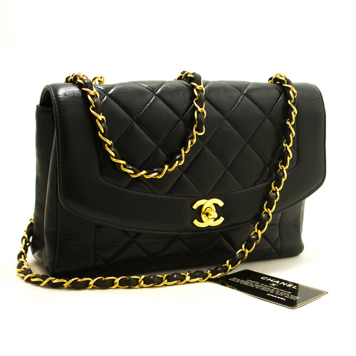CHANEL Diana Flap Chain Shoulder Bag Crossbody Black Quilted Lamb p37-Chanel-hannari-shop