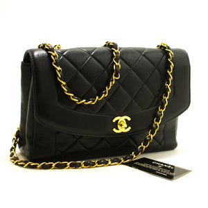 CHANEL Diana Flap Chain Shoulder Bag Crossbody Black Quilted Lamb p37