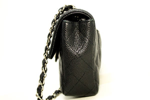 CHANEL Caviar Chain Shoulder Bag Black Quilted Flap Leather Silver j06
