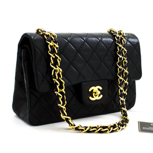 "CHANEL 2.55 Double Flap 9"" Chain Shoulder Bag Black Lambskin Purse y31 hannari-shop"