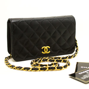 CHANEL Small Chain Shoulder Bag Clutch Black Quilted Flap Lambskin R52-hannari-shop