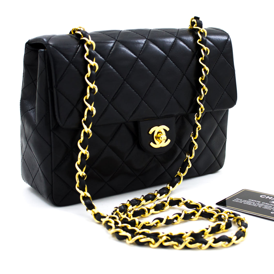 CHANEL Mini Square Small Chain Shoulder Bag Crossbody Black Purse u94 hannari-shop