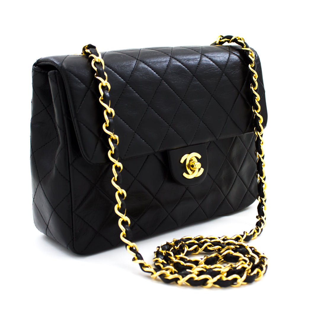 CHANEL Mini Square Small Chain Shoulder Bag Crossbody Black Purse t32