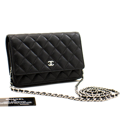 CHANEL Caviar Wallet On Chain WOC Black Shoulder Bag Crossbody a24 hannari-shop