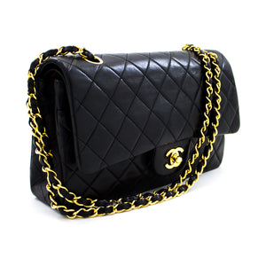 "CHANEL 2.55 Double Flap 10"" Chain Shoulder Bag Black Lambskin u98 hannari-shop"