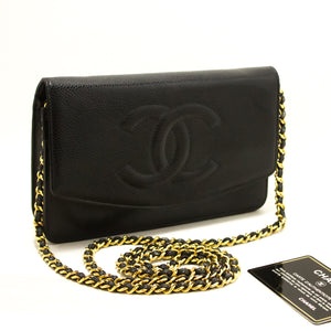 CHANEL Kaviarlommebok på kjede WOC Svart skulderveske Crossbody R51-Messenger & Cross Body Clutch Shoulder Bag-hannari-shop