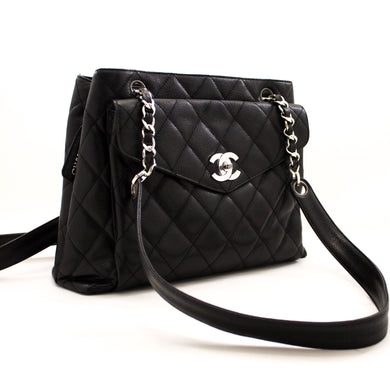 CHANEL Caviar Quilted занҷираи китфи китфи сиёҳи чарм сиёҳ y71 hannari-мағозаи