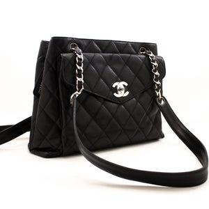 CHANEL Caviar Quilted Chain Shoulder Bag Black Leather Silver y71 hannari-shop